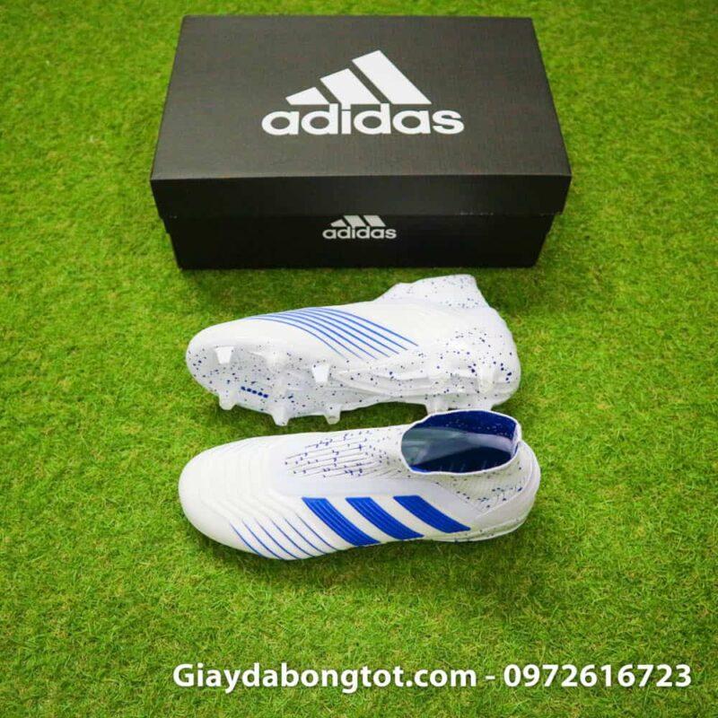 Giày đá banh trẻ em không dây Adidas Predator 19+ FG trắng sọc xanh