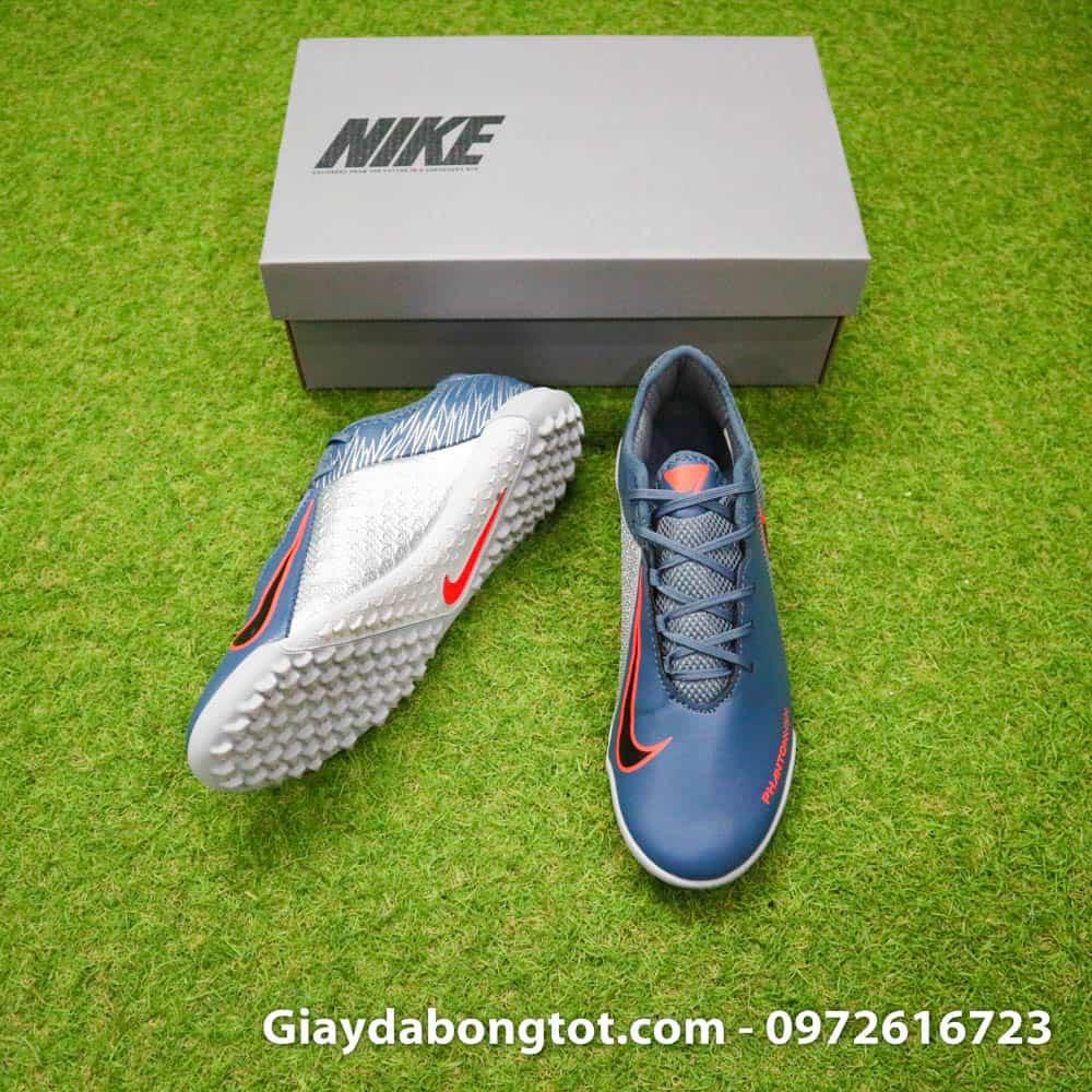 Giày đá bóng Nike Phantom VSN Academy TF xám với form giày thon gọn đẹp mắt