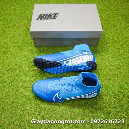 Giày đá bóng Nike cao cổ Mercurial Superfly 7 TF xanh dương da vải 2019