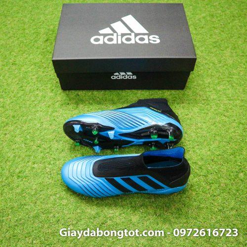 Giày đá bóng trẻ em không dây đinh cao Adidas Predator 19+ FG xanh nhạt đen