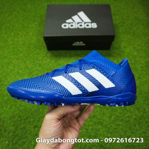 Giay da banh Adidas Nemeziz 18.3 TF xanh duong om chan (9)