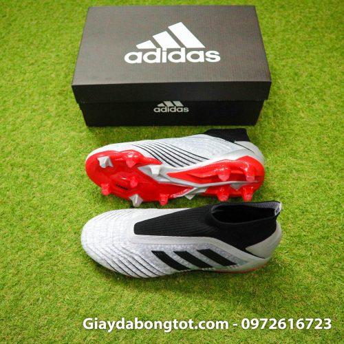 Giay da banh Adidas Predator 19+ FG xam den khong day (2)