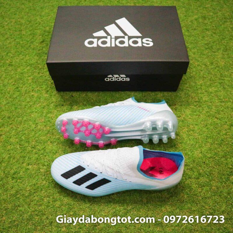 Giày đá bóng đinh AG Adidas X19.1 màu xanh nhạt trắng Văn Hậu