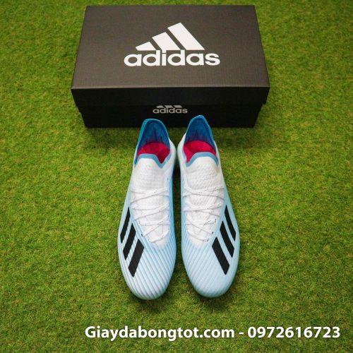Giày đá bóng Adidas X19.1 AG xanh nhạt có form giày thon gọn đẹp mắt