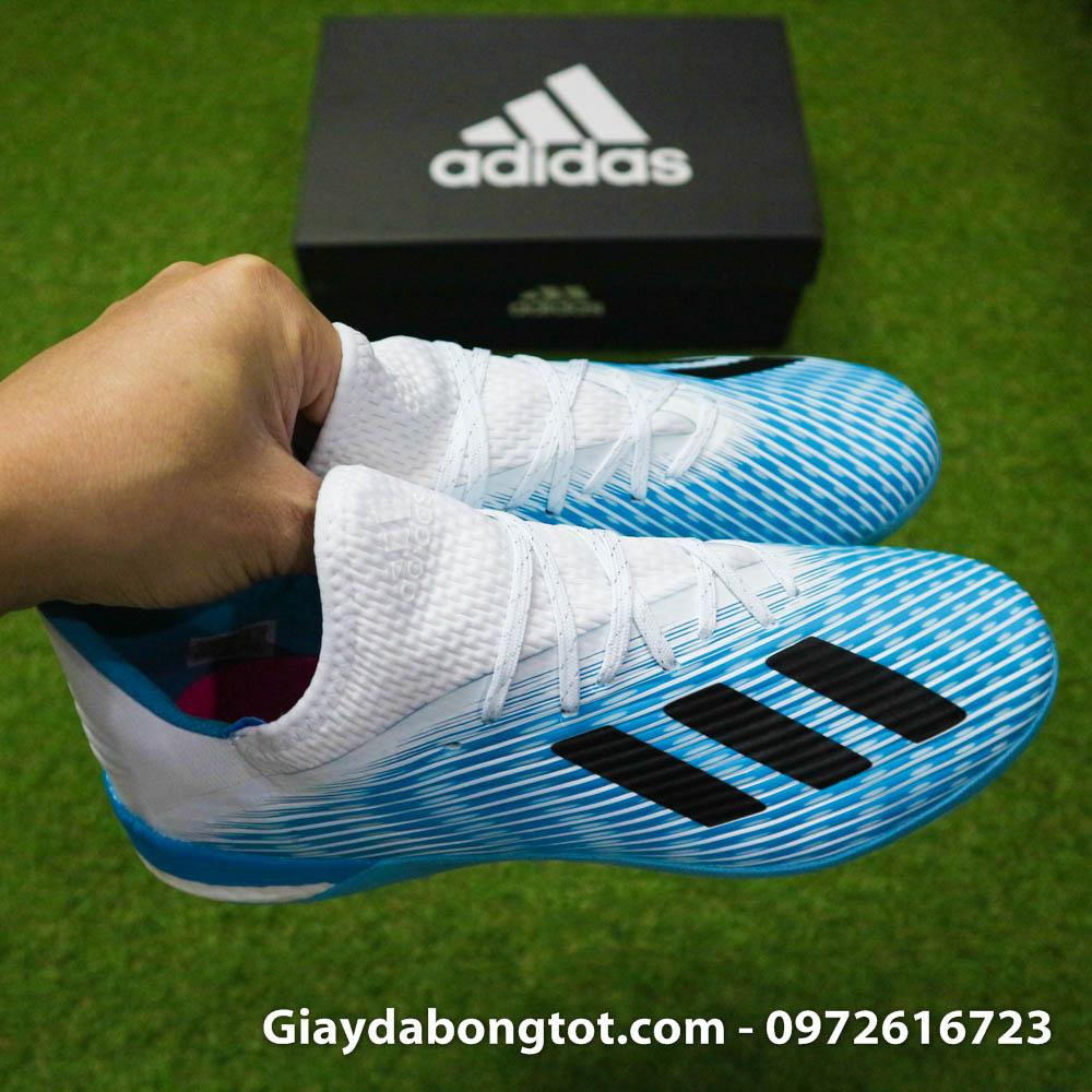 Giay da bong Adidas X19.1 TF xanh nhat co trang Van Hau (11)