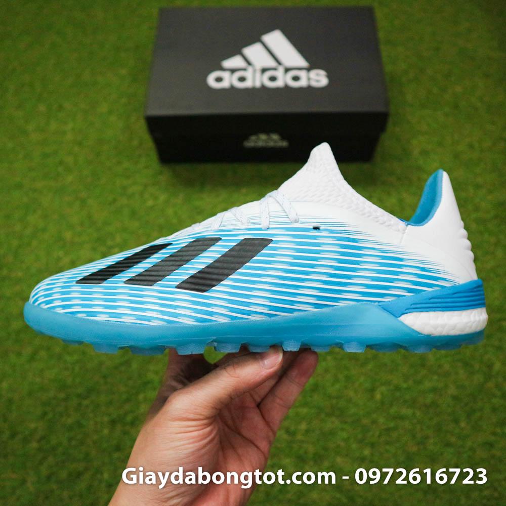 Giay da bong Adidas X19.1 TF xanh nhat co trang Van Hau (13)