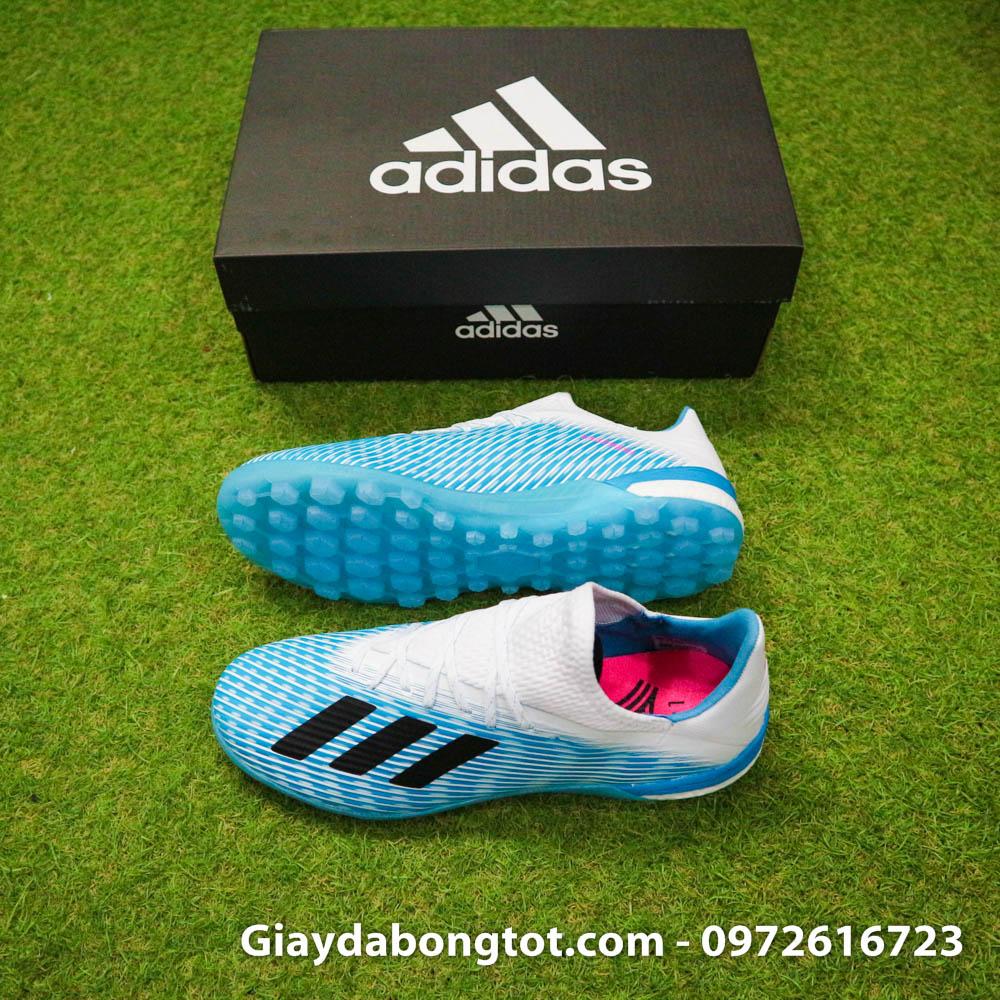 Giay da bong Adidas X19.1 TF xanh nhat co trang Van Hau (2)