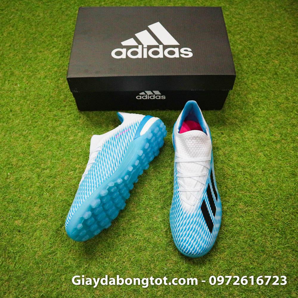 Giay da bong Adidas X19.1 TF xanh nhat co trang Van Hau (5)