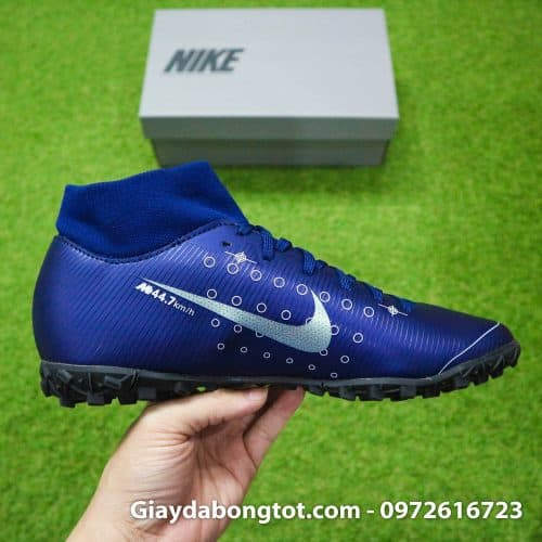Giay da bong Nike cao co Mercurial Superfly 7 Academy TF Dream Speed tim than (11)