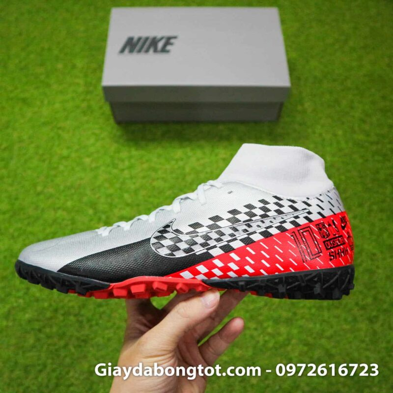 Giay da bong Nike cao co Neymar Mercurial Superfly 7 Academy TF xam do den (10)
