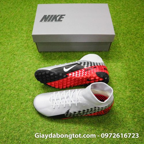 Giay da bong Nike cao co Neymar Mercurial Superfly 7 Academy TF xam do den (2)