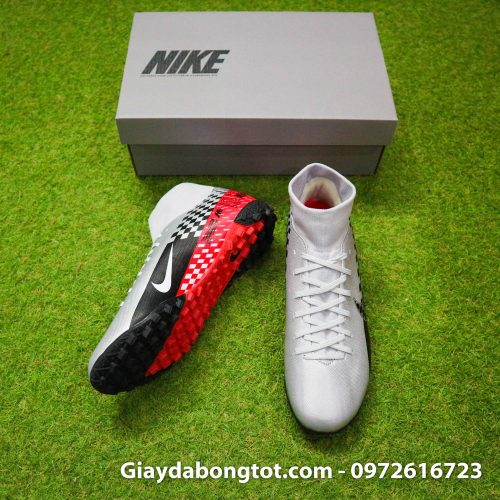 Giay da bong Nike cao co Neymar Mercurial Superfly 7 Academy TF xam do den (5)