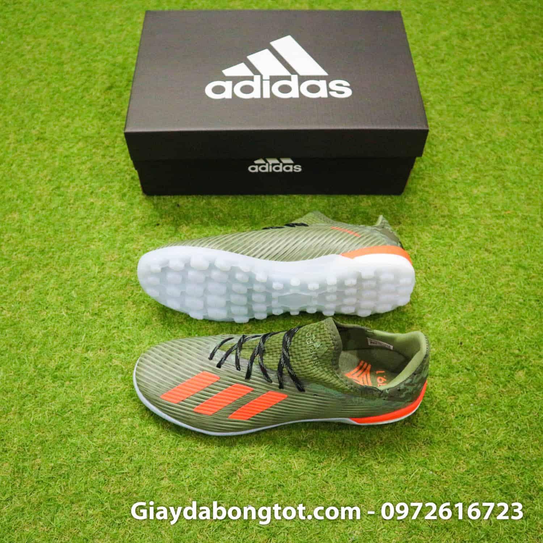 Giày đá bóng sân cỏ nhân tạo Adidas X19.1 TF nâu camo vạch cam Văn Hậu