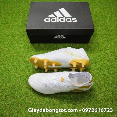Giày đá bóng đinh cao Adidas Nemeziz 19.1 FG trắng vạch vàng