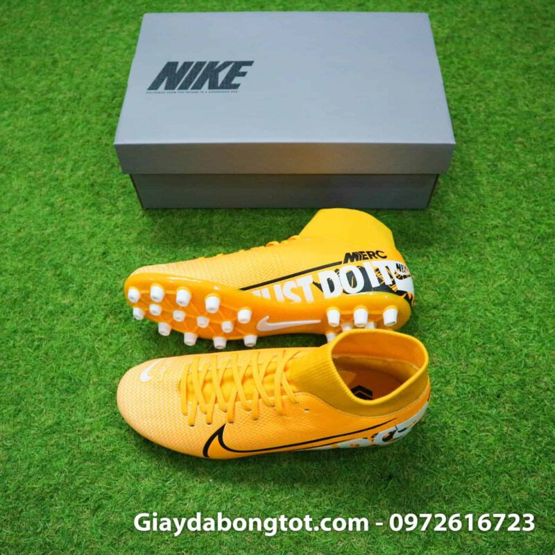 Giày đá bóng sân cỏ nhân tạo cổ cao đinh AG Nike Mercurial Superfly 7 Academy màu vàng