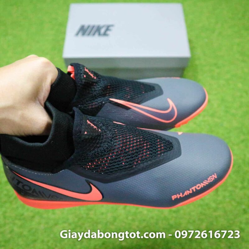 Giay bong da che day Nike Phantom VSN cao co TF den cam (1)