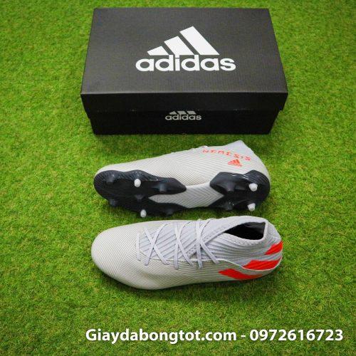 Giày đá bóng sân cỏ tự nhiên cổ cao Adidas Nemeziz 19.3 FG xám vạch đỏ