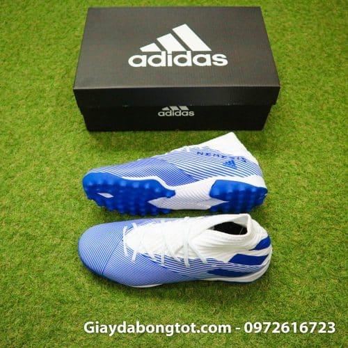 Giày đá banh sân cỏ nhân tạo cổ cao Adidas Nemeziz 19.3 TF trắng sọc xanh