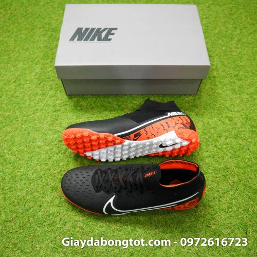 Giày bóng đá sân cỏ nhân tạo cổ cao Nike Mercurial Superfly 7 TF da vải đen cam