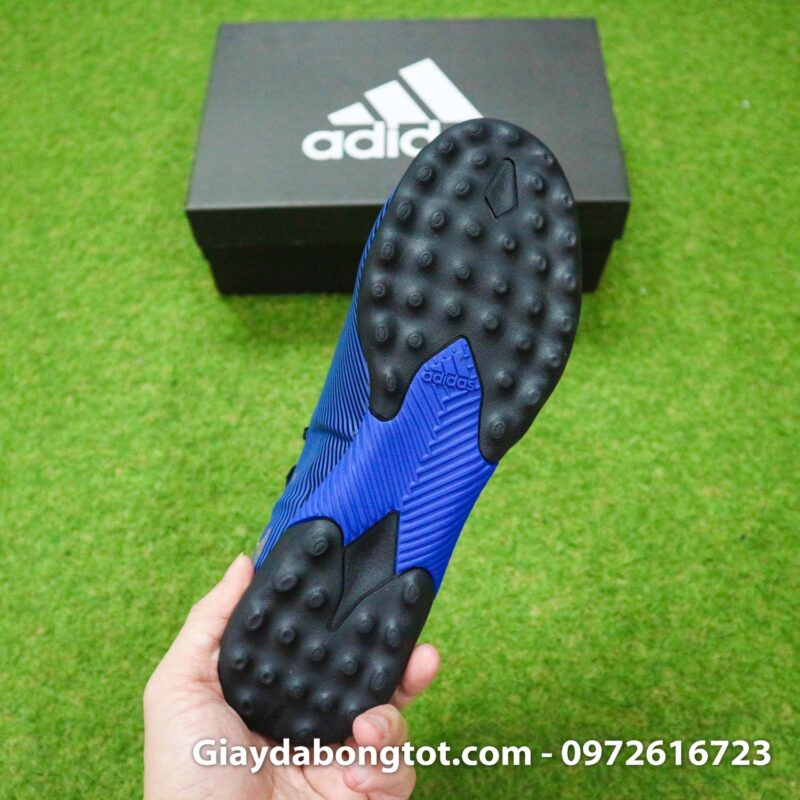 Giay Adidas Nemeziz 19.3 TF xanh dam vach vang co cao (1)