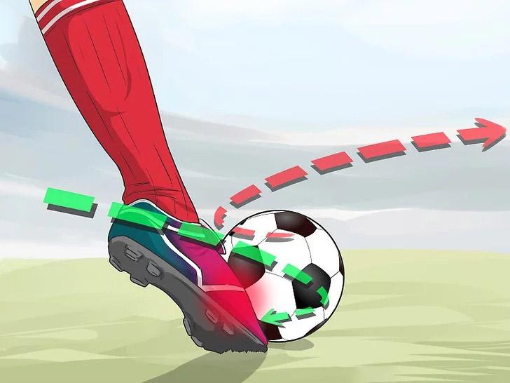 Bước chúi bàn chân xuống và miết lên quả bóng để tạo lực xoáy