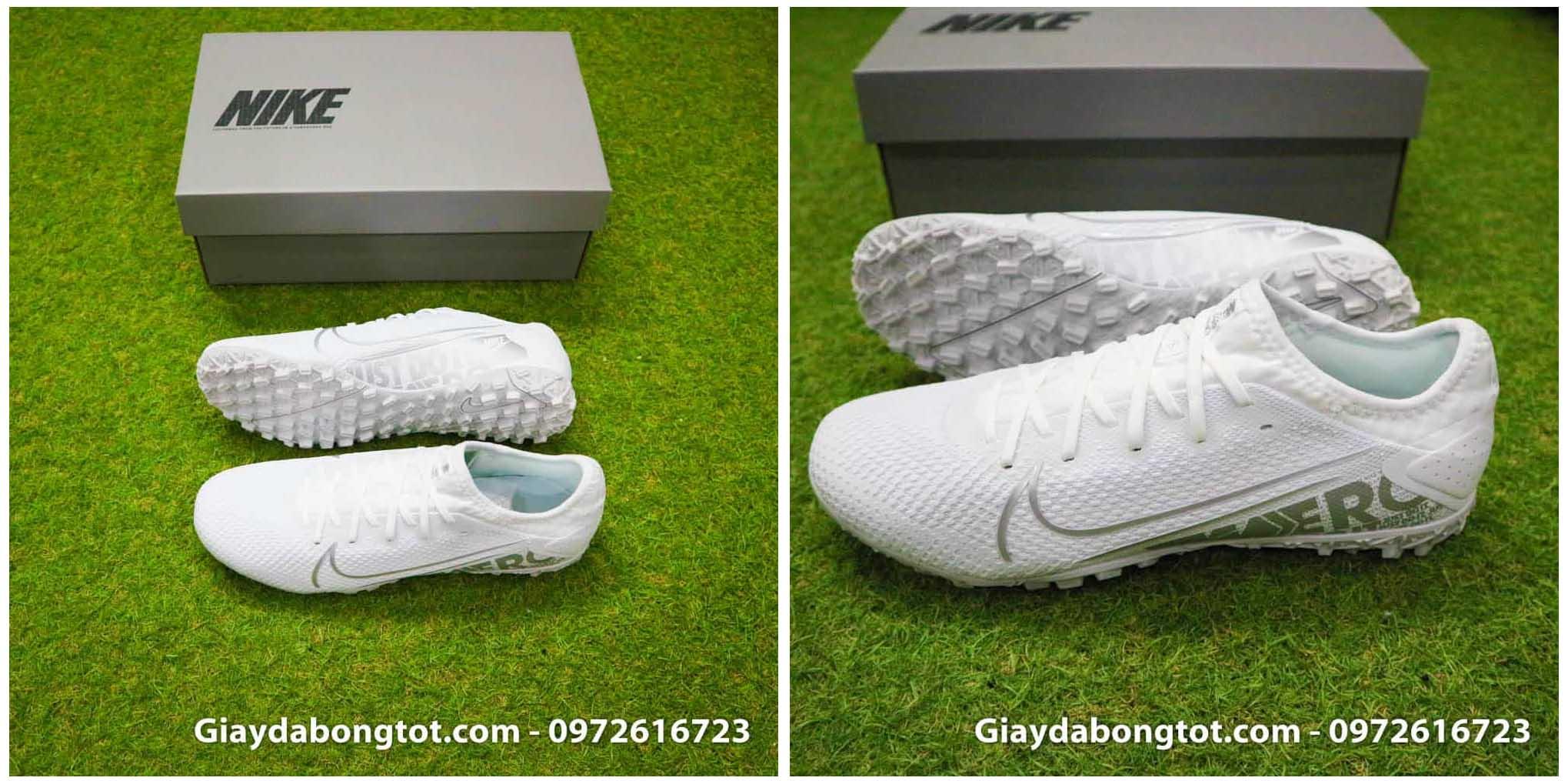 Giày bóng đá Nike màu trắng toàn thân Mercurial Vapor 13 Pro TF