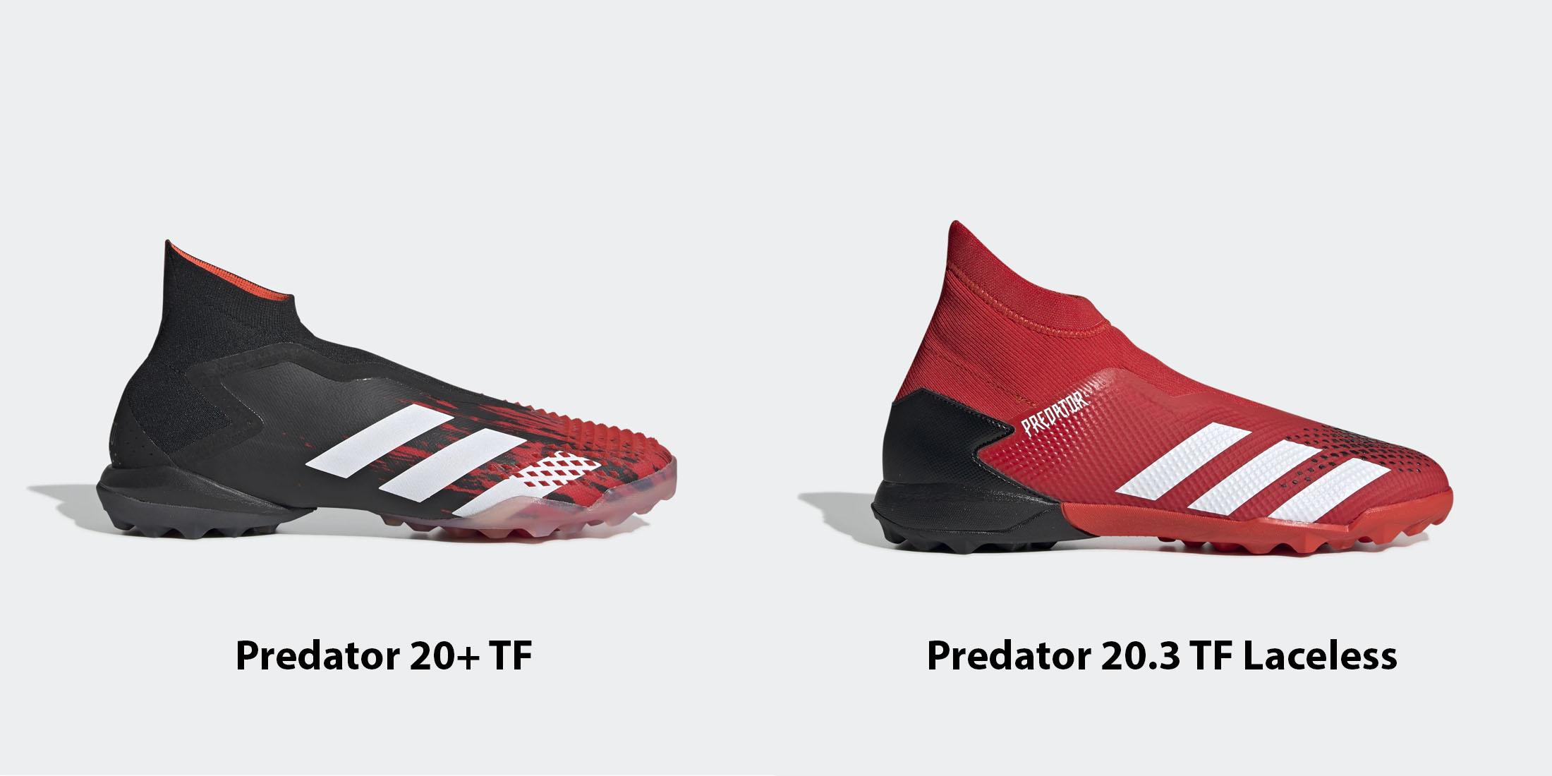 Sự khác nhau giữa giày đá bóng không dây Adidas Predator 20+ TF và Predator 20.3 TF Laceless