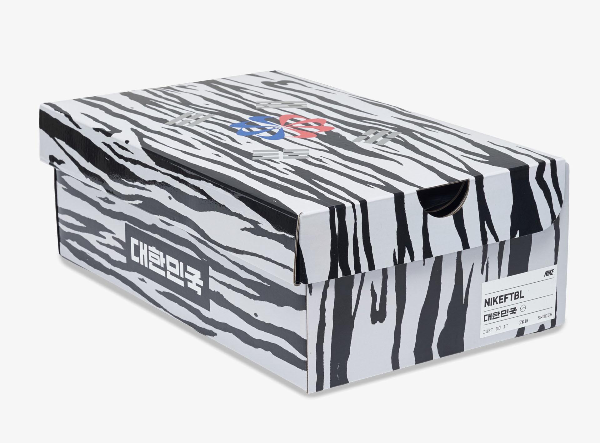Thiết kế hộp giày đẹp mắt với lá cờ của Hàn Quốc ở trên mặt hộp