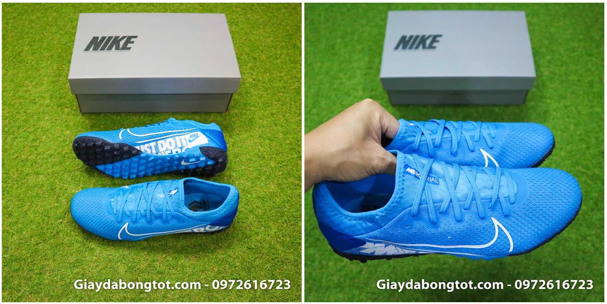 Giày đá bóng da vải màu xanh dương Vapor 13 Pro TF