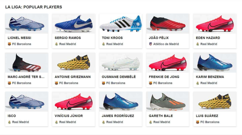 Các cầu thủ tại La Liga sử dụng rất đa dạng các mẫu giày đá bóng khác nhau
