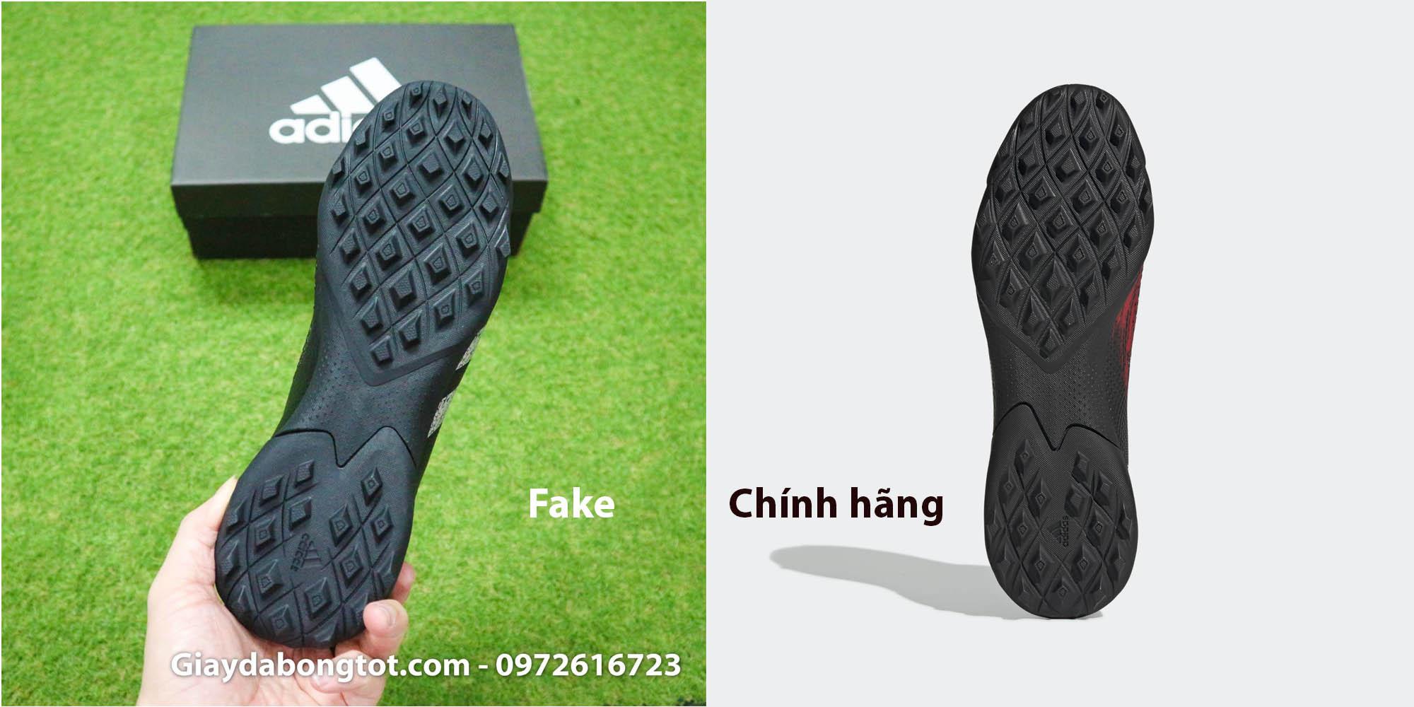 Thiết kế đế giày Adidas Predator 20.3 TF Fake và chính hãng rất giống nhau nhưng lại khác nhau về độ mềm