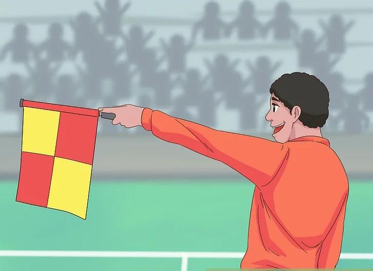 Trọng tài biên căng ngang cờ để báo hiệu cầu thủ việt vị