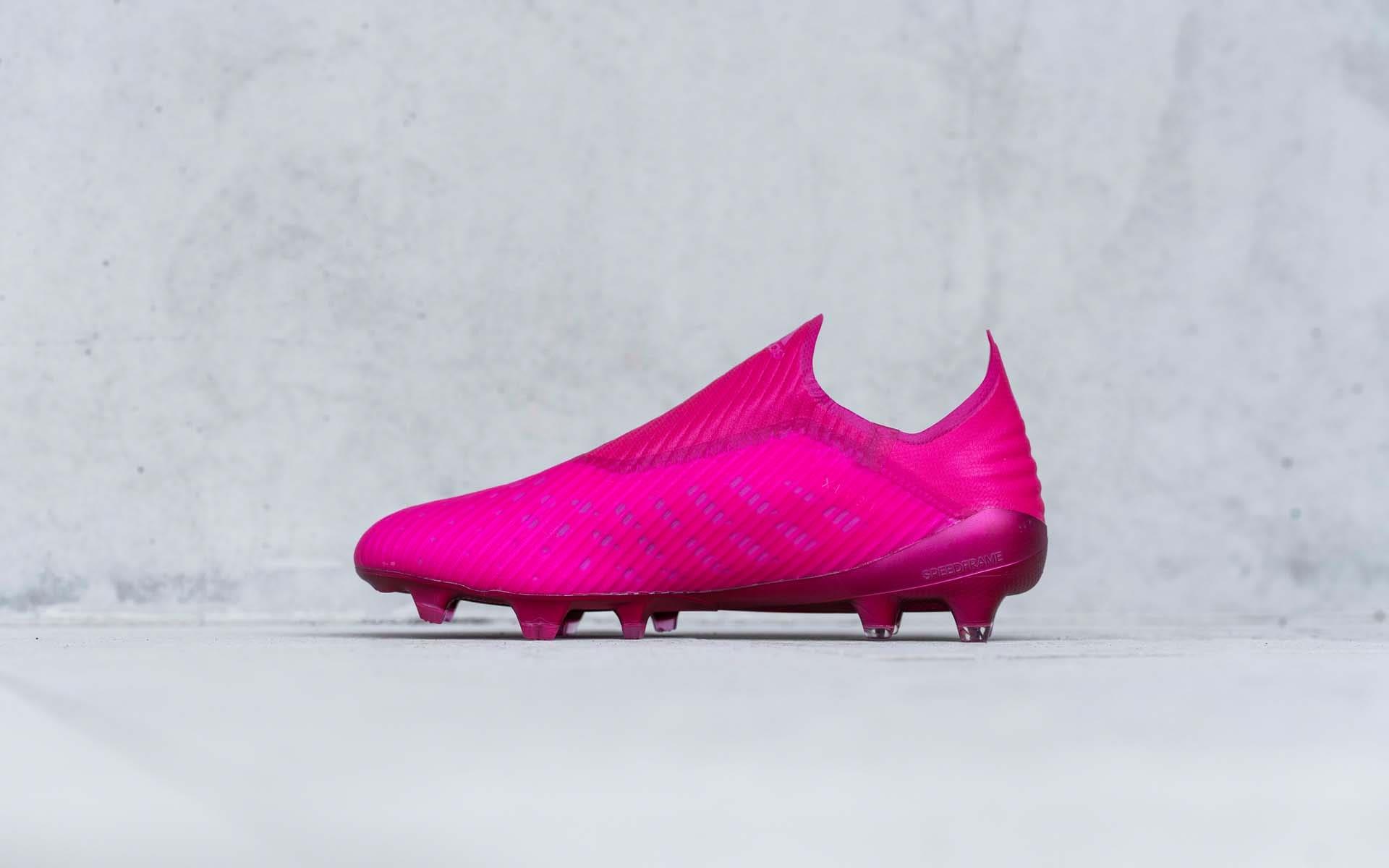 Thiết kế giày đá bóng không dây Adidas X19+ màu hồng đẹp mắt