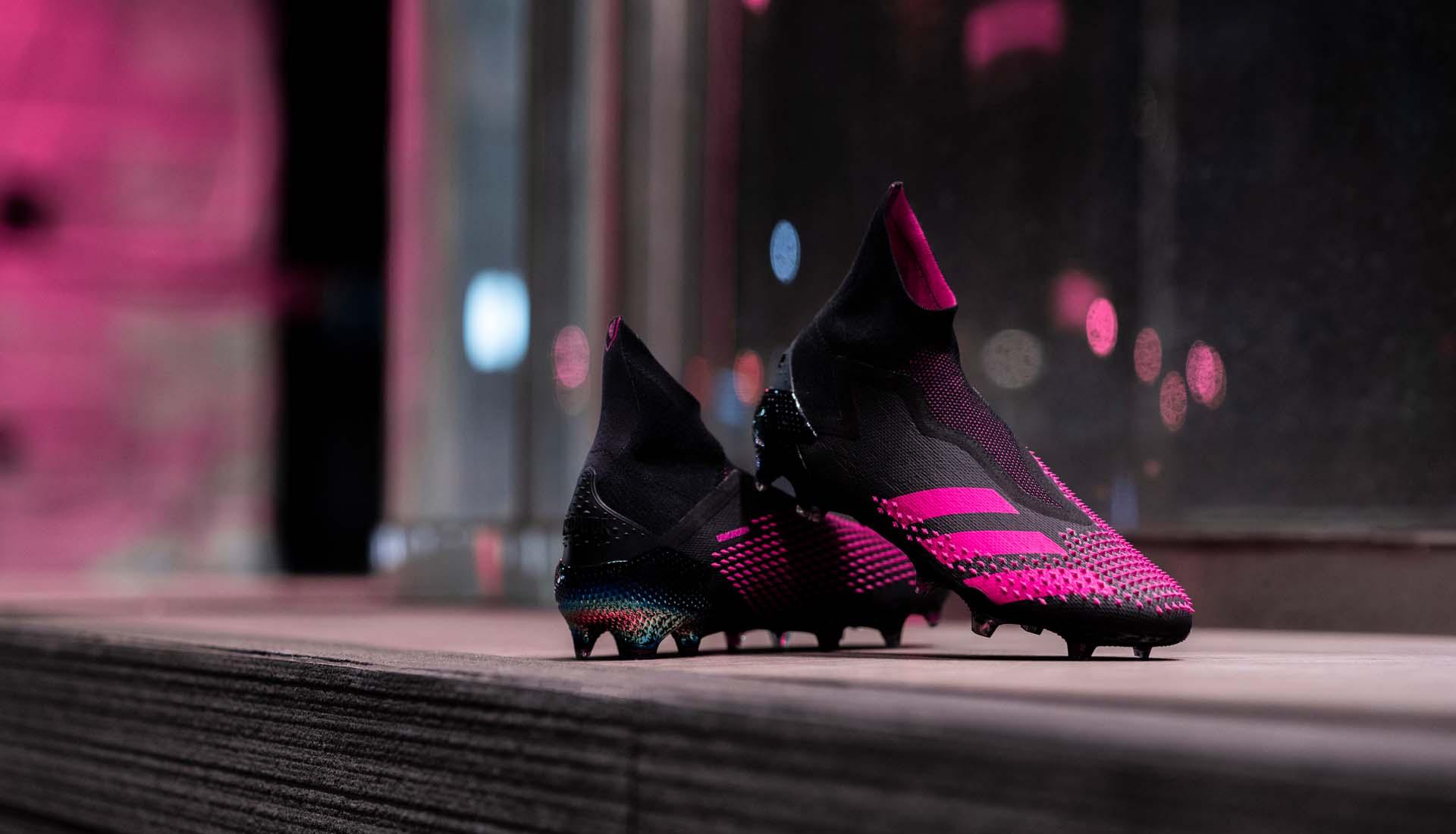 Giày Adidas Predator 20+ FG đen hồng được làm bằng chất liệu da vải sợi dệt êm mềm