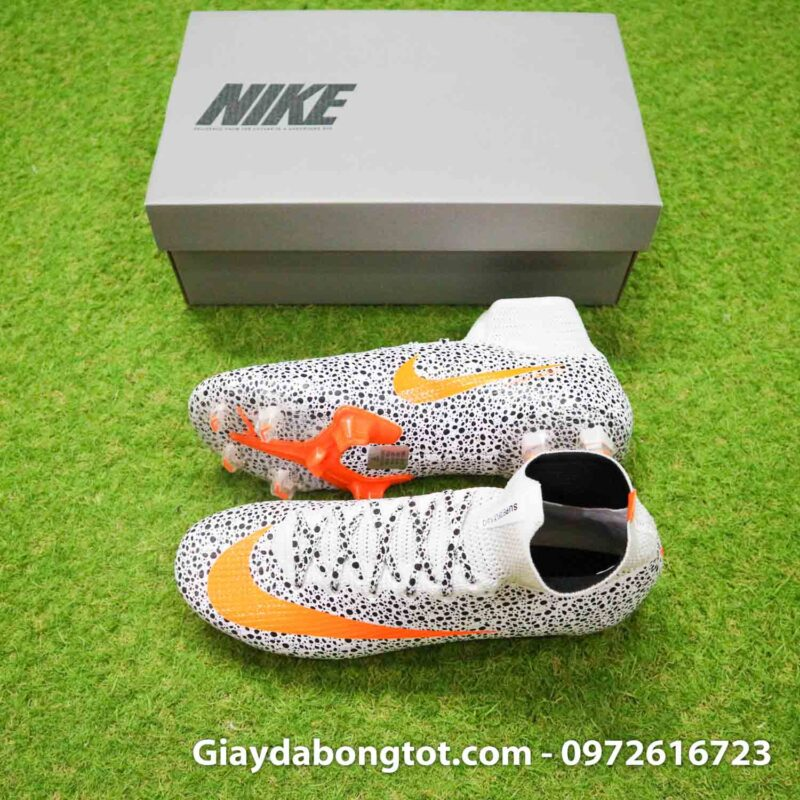 Giay bong da nike mercurial superfly 7 elite fg safari cr7 den trang (2)