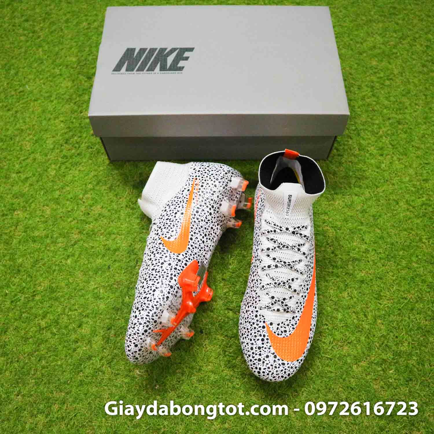 Giay bong da nike mercurial superfly 7 elite fg safari cr7 den trang (5)