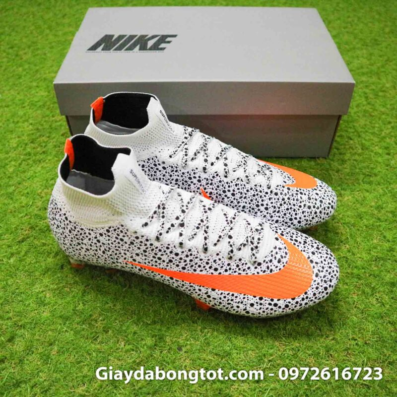 Giay bong da nike mercurial superfly 7 elite fg safari cr7 den trang (7)