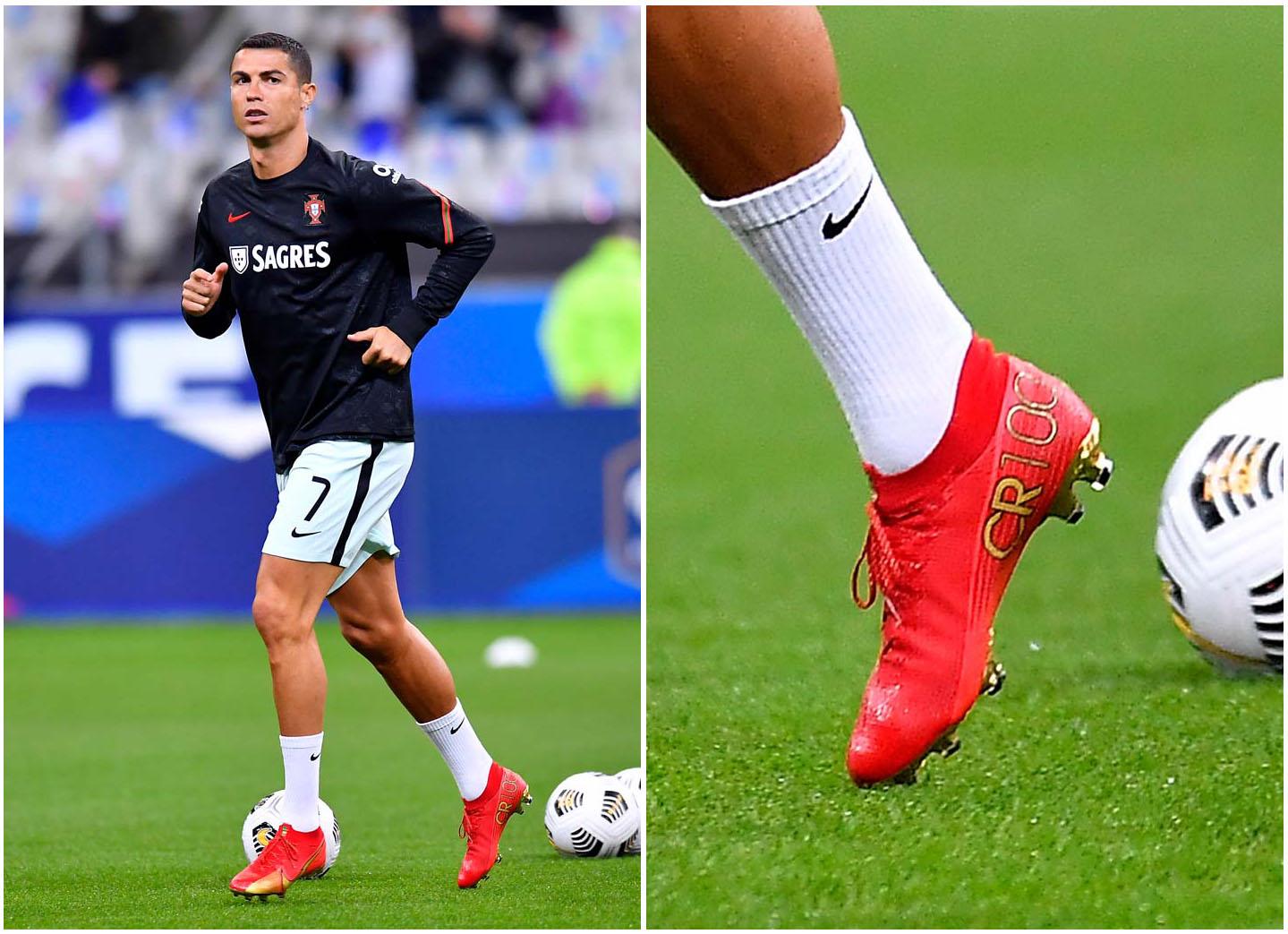 Ronaldo CR7 sử dụng giày Nike thửa riêng để kỷ niệm 100 bàn thắng trong màu áo Bồ Đào Nha