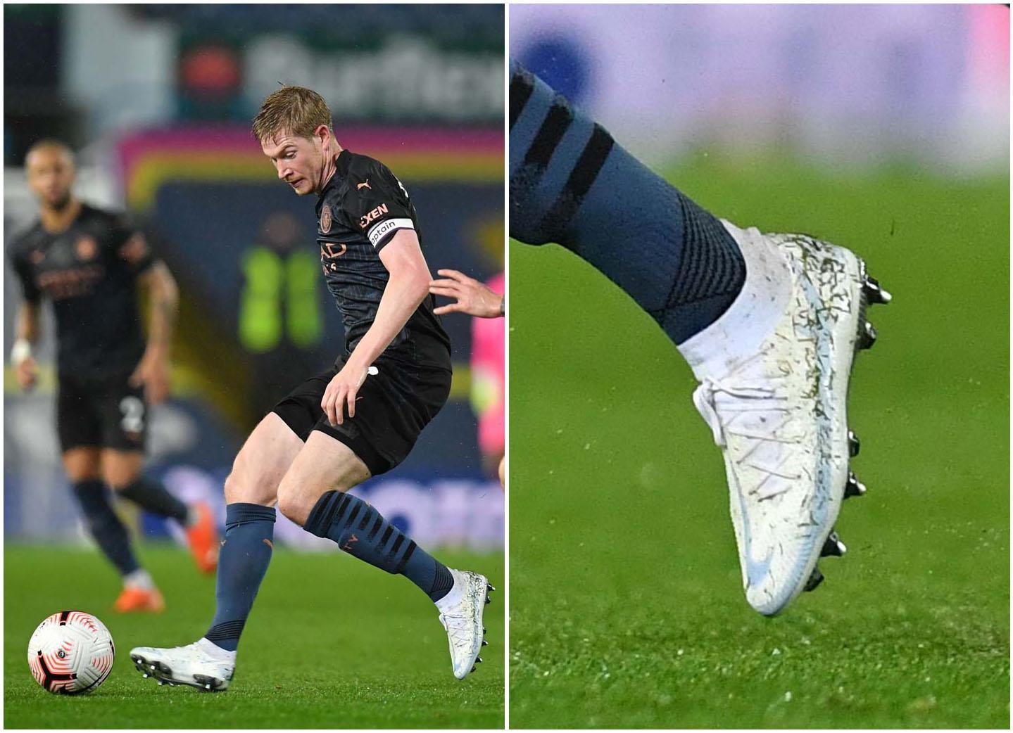Kevin De Bruyne (Manchester City) tuần qua mang giày Nike Phantom GT màu trắng độc lạ