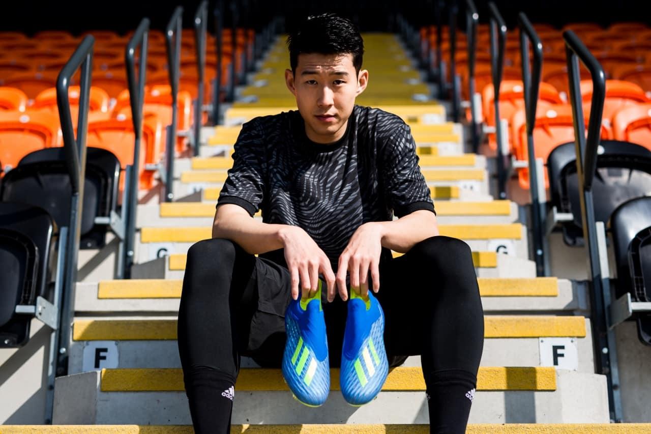 Son Heung-min và đôi giày Adidas X18+ không dây màu xanh dương đẹp mắt