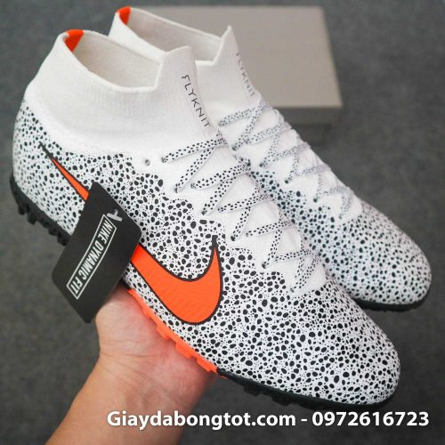 Giay da banh cao co nike mercurial superfly 7 elite tf cr7 safari trang den (10)