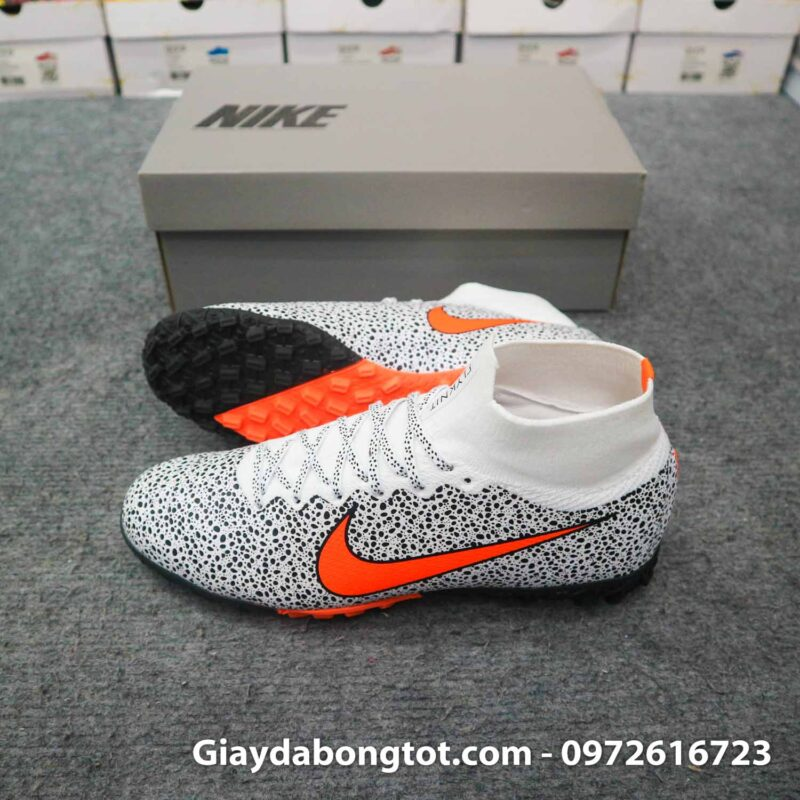 Giay da banh cao co nike mercurial superfly 7 elite tf cr7 safari trang den (2)