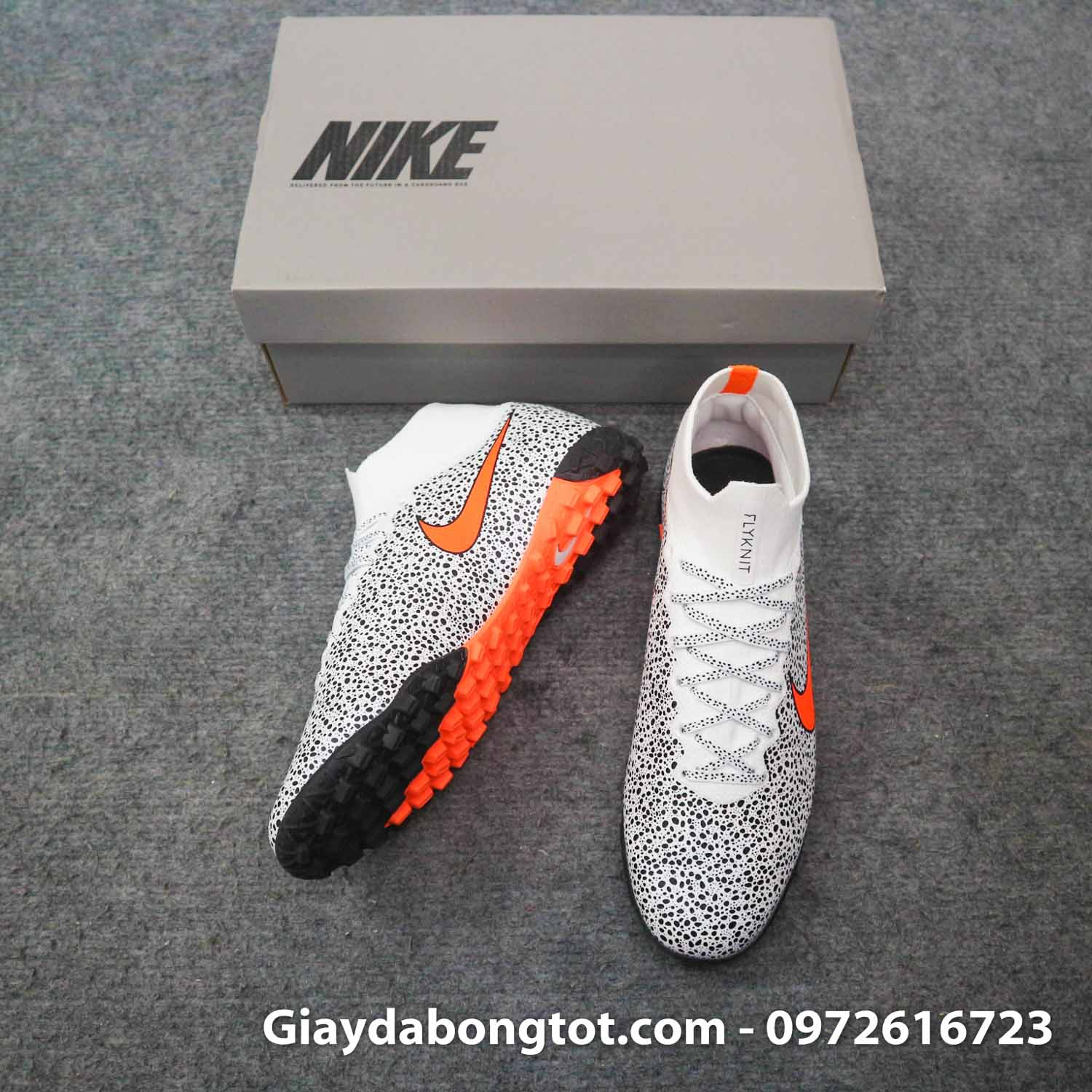 Giay da banh cao co nike mercurial superfly 7 elite tf cr7 safari trang den (3)