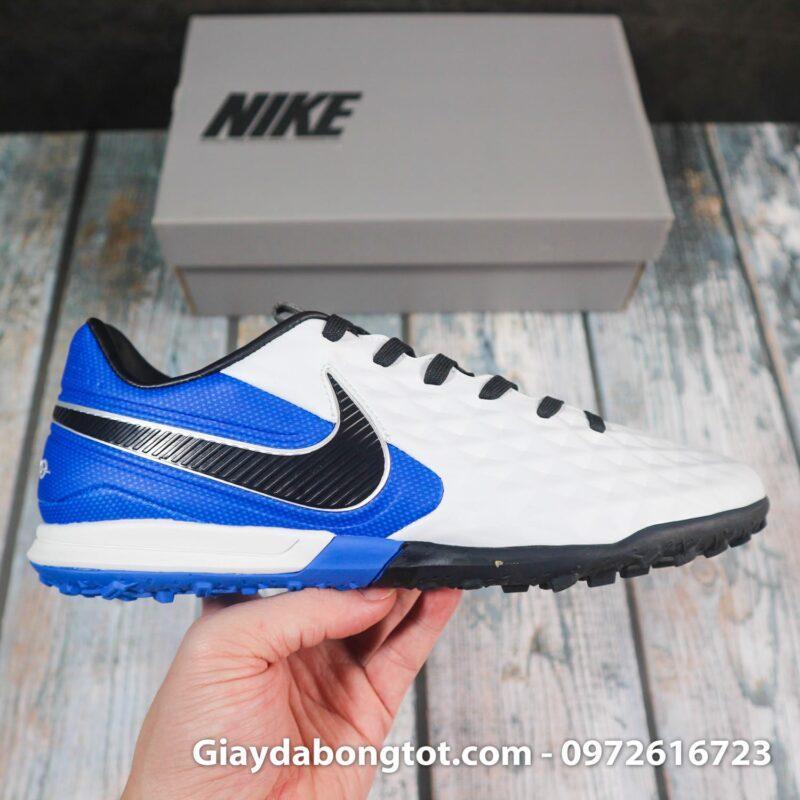 Nike tiempo legend x 8 pro tf trang xanh duong vach den superfake (6)