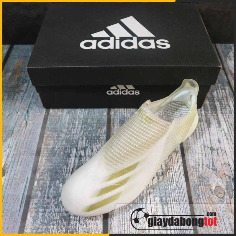 Giay da bong khong day adidas x ghosted + fg trang vach vang (6)